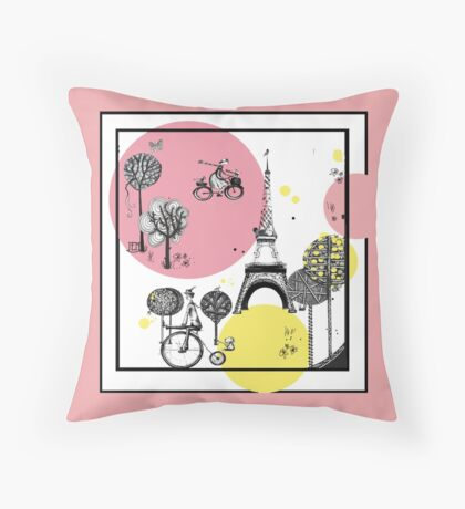 Busy village 3 Throw Pillow