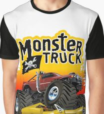 Cartoon Monster Truck Graphic T-Shirt