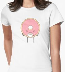 donut loves coffee Womens Fitted T-Shirt
