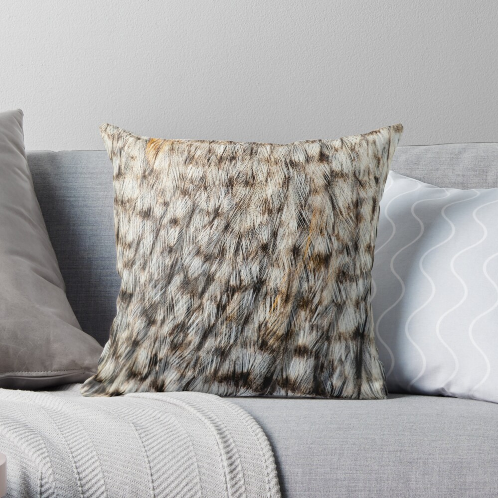 Brown Chicken Feathers Textured Pattern Photo Throw Pillow