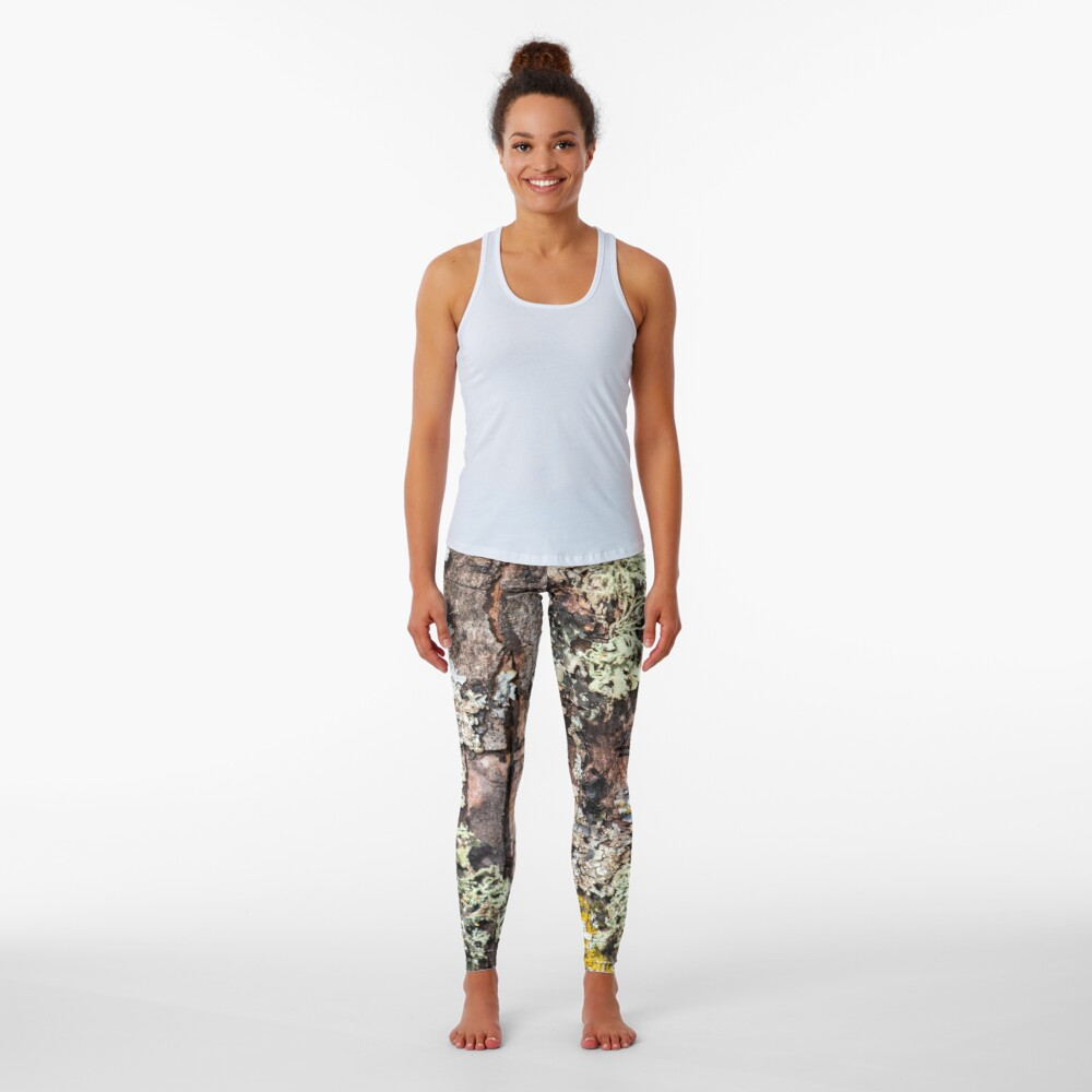 Lichen and Moss on Bark Textured Pattern Leggings