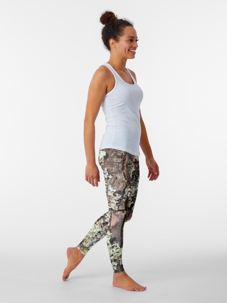 Alternate view of Lichen and Moss on Bark Textured Pattern Leggings