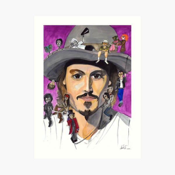 Johnny Depp W/ back Art Print