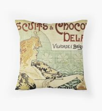 Biscuits & Chocolat Delacre, by Alphonse Mucha Throw Pillow