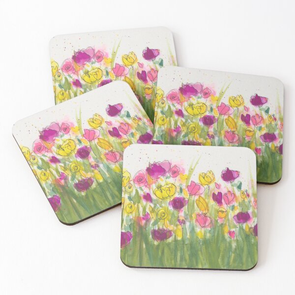 Abstract Field of Flowers Coasters (Set of 4)