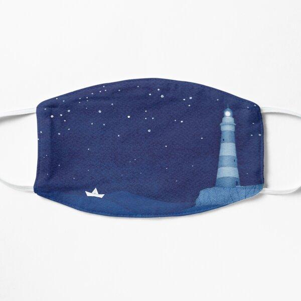 Lighthouse 2, blue ocean watercolor Flat Mask