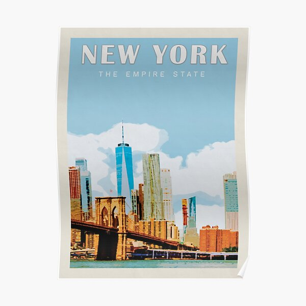 New York City Vintage Travel Poster • New York City Retro Travel Poster • NYC Travel Poster Poster