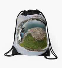 Hurry Head Harbour, Carnlough, County Antrim - Sky out Drawstring Bag