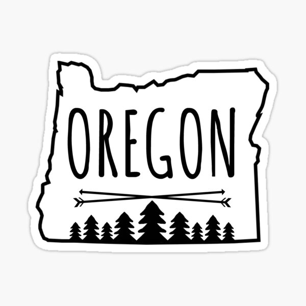 Oregon Trees - in white Sticker