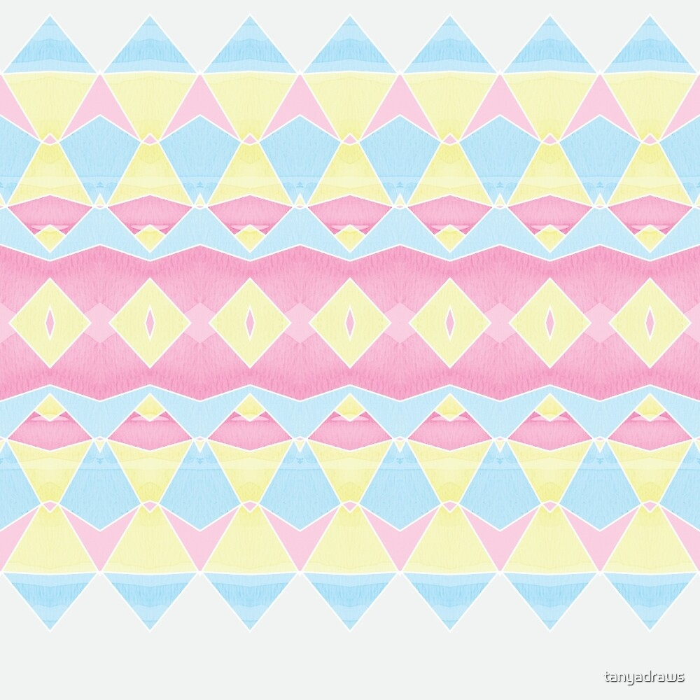 Geometric Pastel Watercolour Pattern by tanyadraws