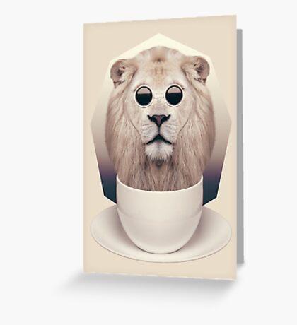 Caffeinimals: Lion Greeting Card