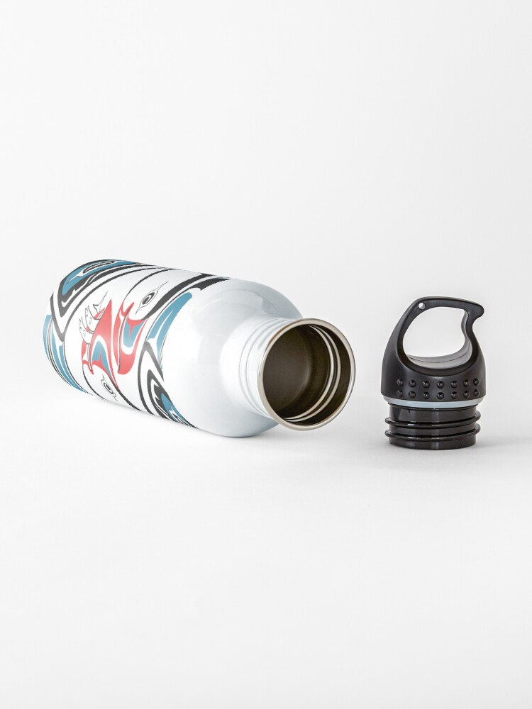 Alternate view of Puffins, PNW style Alaska art, courting Water Bottle