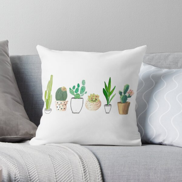 POTTED CACTI Throw Pillow