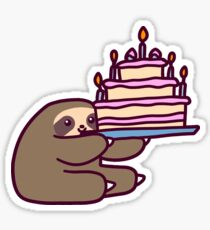 Birthday cake Sloth Sticker