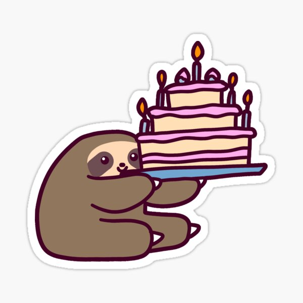 Birthday cake Sloth Sticker
