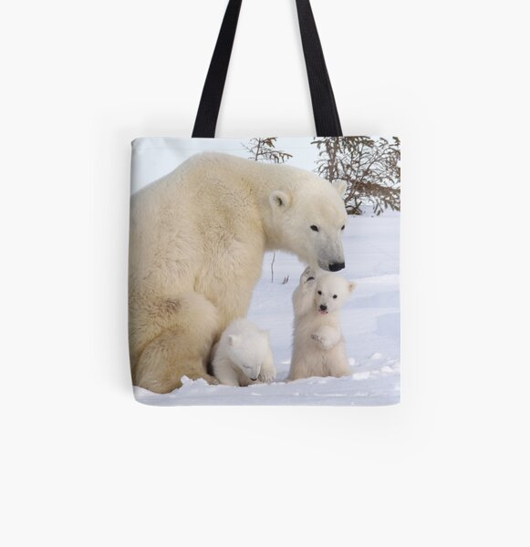 Mother polar bear & her two cubs All Over Print Tote Bag