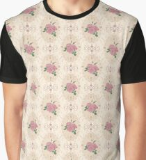 Beautiful seamless pink rose pattern with baroque ornamental Graphic T-Shirt