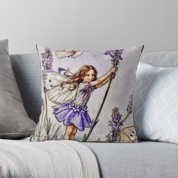 """""""The Lavender Fairy"""" by Cicely Mary Barker 1922 Throw Pillow"""