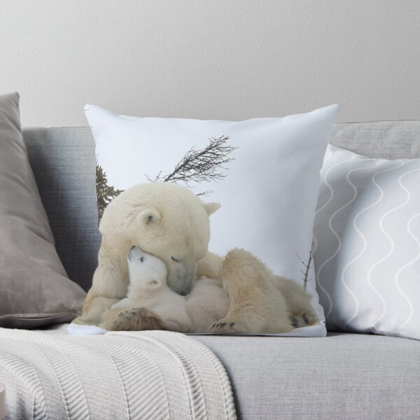 Polar bears: Mom & cubs Throw Pillow
