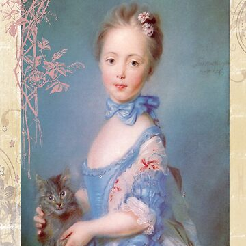 Victorian Lady Blue Dress Holding Pet Cat by designsbycclair