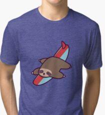 Surfing Sloth Tri-blend T-Shirt