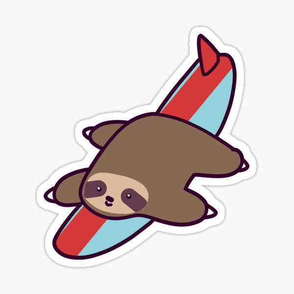 Surfing Sloth Sticker