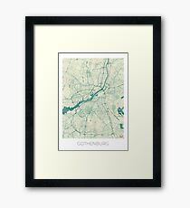 Gothenburg Map Blue Vintage Framed Print