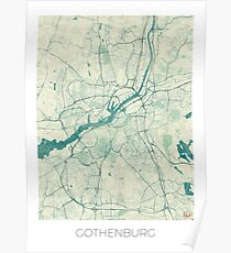Gothenburg Map Blue Vintage Poster