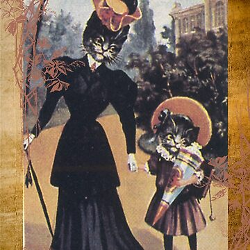 Victorian Cat Mother Daughter by designsbycclair