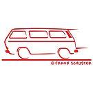 Speedy VW Vanagon Caravelle Transporter Kombi Windows Red by Frank Schuster