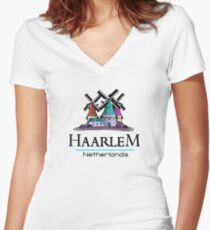 Haarlem, The Netherlands Women's Fitted V-Neck T-Shirt