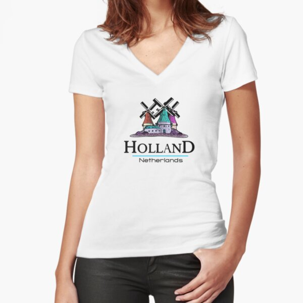 Holland, The Netherlands Fitted V-Neck T-Shirt