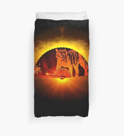 Asian subjects; Motive: Tiger Duvet Cover