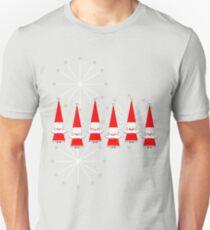 """Mid-Century Happy Santas""© T-Shirt"