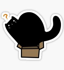 Pegatina Caja minúscula del gato negro