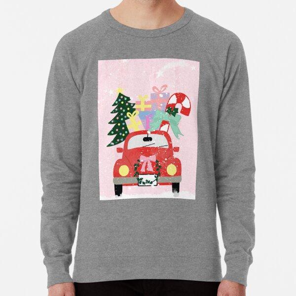 Red Christmas Truck In The Snow Lightweight Sweatshirt