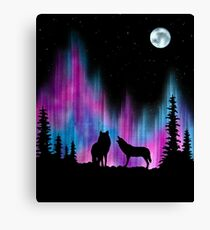 Aurora Wolves 1 by Leslie Berg Canvas Print