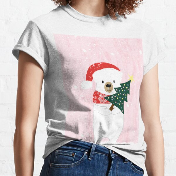 Christmas Polar Bear With Christmas Tree On A Pink Background Classic T-Shirt