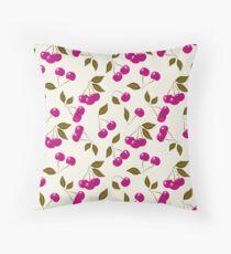 seamless pattern cherry red Throw Pillow