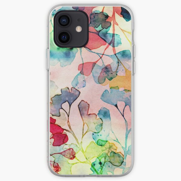 Watercolor ginkgo leaves iPhone Soft Case