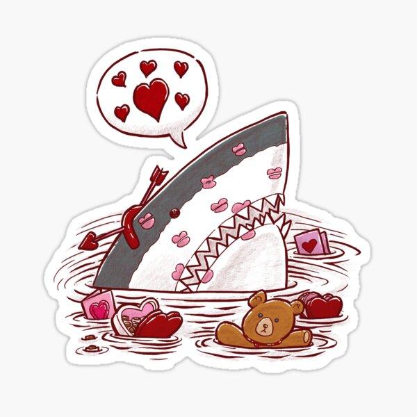 Valentine's Day Shark Sticker
