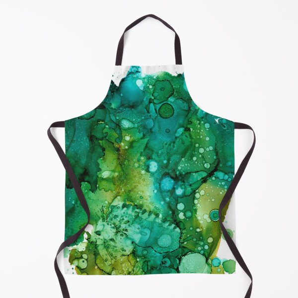 Green Spots and Dots Abstract  Apron