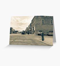 Wilmington Illinois, USA, Water Street old image style split tone Greeting Card
