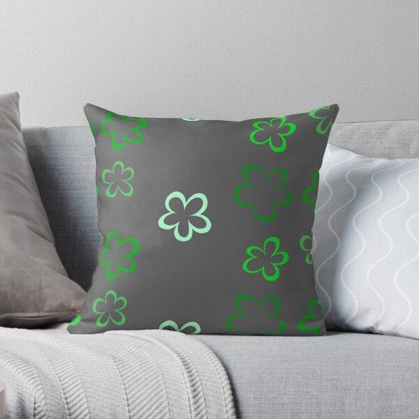 Funky Green Retro Flowers Sticker Pack Throw Pillow