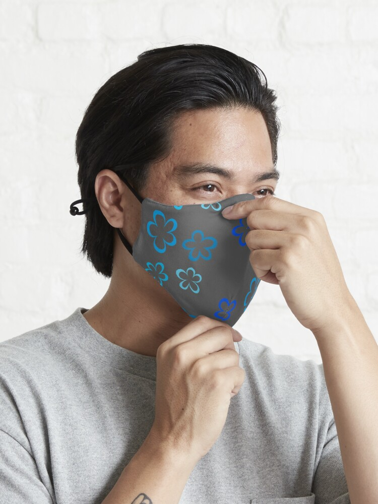 Alternate view of Funky Blue Retro Flowers Sticker Pack Mask