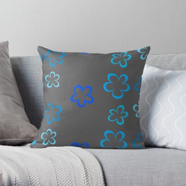 Funky Blue Retro Flowers Sticker Pack Throw Pillow