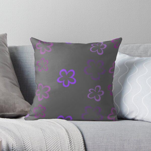 Funky Purple Retro Flowers Sticker Pack Throw Pillow