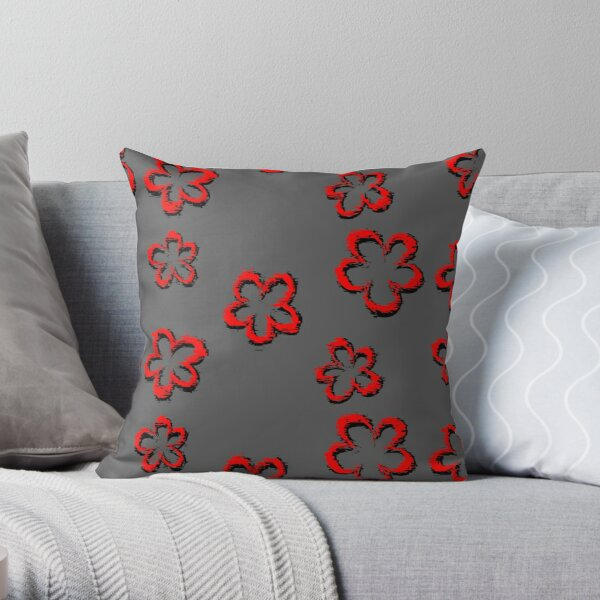 Funky Red Retro Glitch Flowers Sticker Pack Throw Pillow