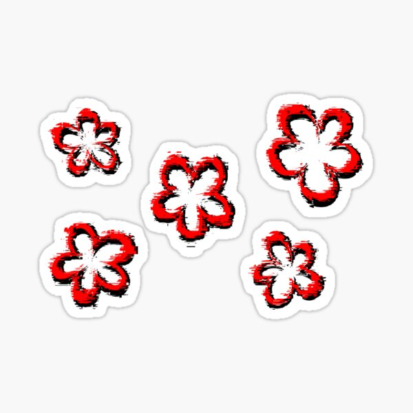 Funky Red Retro Glitch Flowers Sticker Pack Glossy Sticker