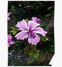 Lavender Abstract Flower Scene  Poster